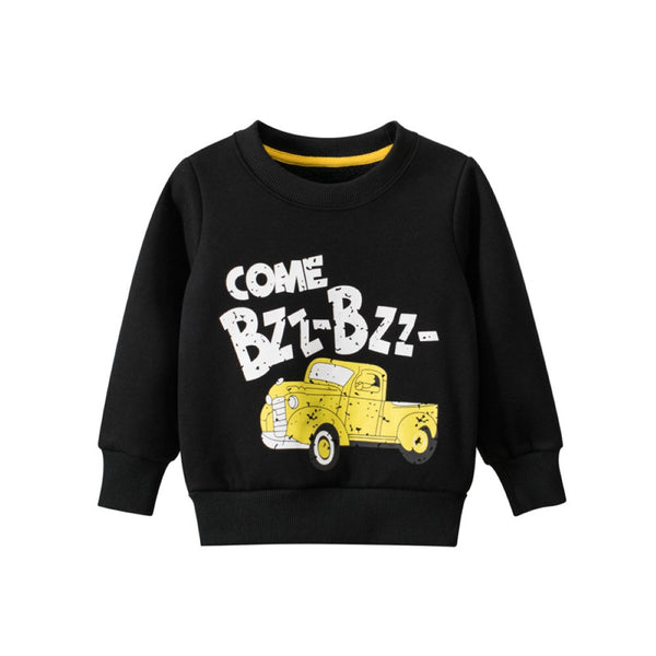 Boys Round Neck Little Car & Letter Printed Top Wholesale Boys Clothing