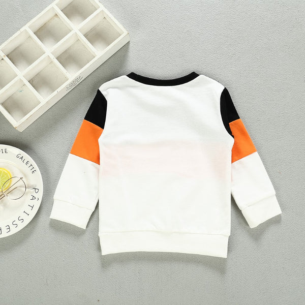 Boys Round Neck Splicing Letter Printed Top Wholesale Toddler Boy Clothes