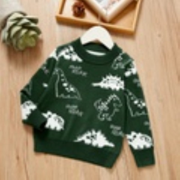 Boys Round Neck Various Cartoon Dinosaur Sweater  Wholesale Boys Clothes