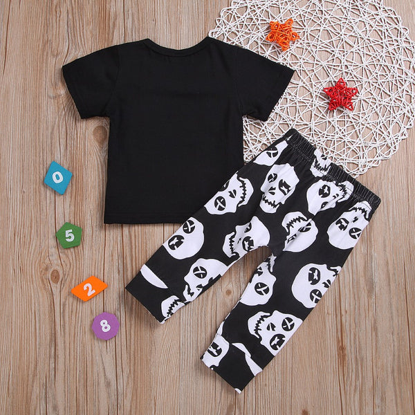 Boys Skull Pattern Letter Printed Top & Pants Boys Casual Suits