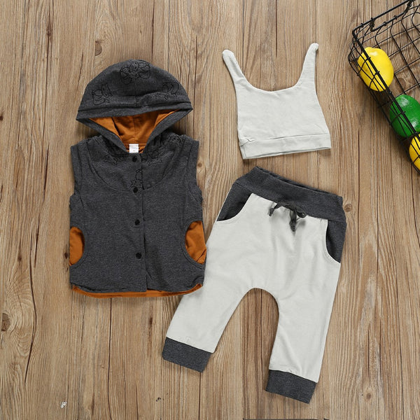 Boys Sleeveless Hooded Vest Three-piece Suit Boys Casual Suits
