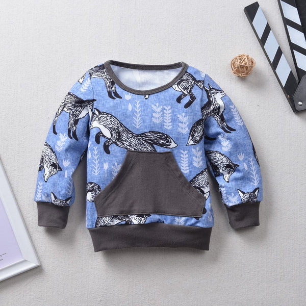 Boys Snow Fox Printed Top & Pant Wholesale Toddler Boy Clothing