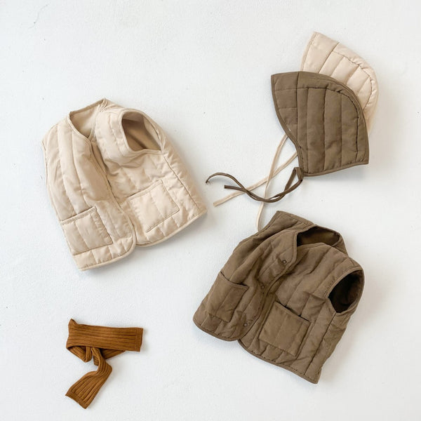 Boys Solid Cardigan Vest & Hat Wholesale Clothing For Boys