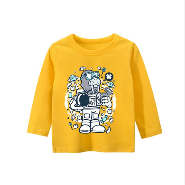 Boys Space Seal Pattern Long Sleeves Shirt Wholesale Boys Clothing