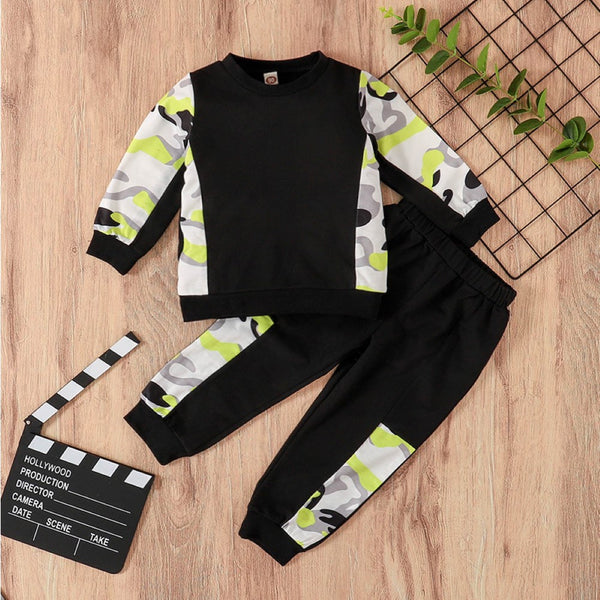 Boys Splicing Bright Color Camouflage Set Boys Casual Suits