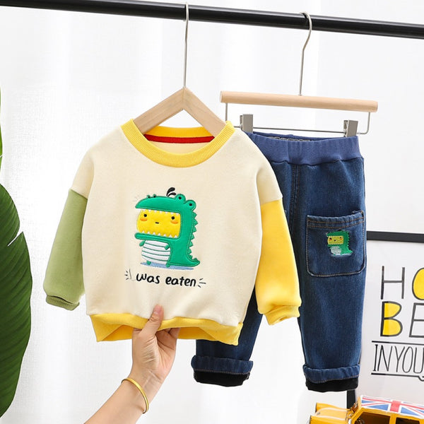 Boys Splicing Cartoon Little Dinosaur Sets Baby Boy Dinosaur Clothes