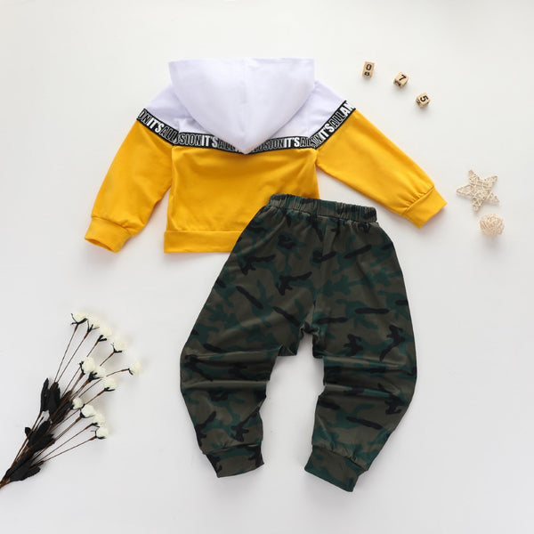 Boys Splicing Letter Printed Camouflage Suits Wholesale Boys Clothes