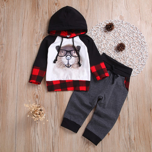 Boys Squirrel Cartoon Printed Lattice Suits Boys Clothing Wholesale