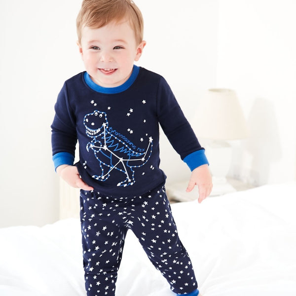 Boys Star Dinosaur Pattern Long Sleeves Pajamas Suits Wholesale Boys Suits