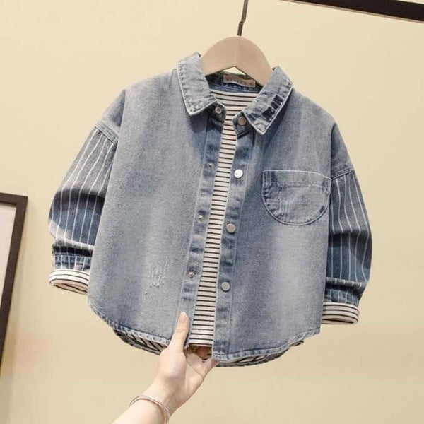 Boys Stitching Stripes Cardigan  Cowboy Jacket Boys Wholesale