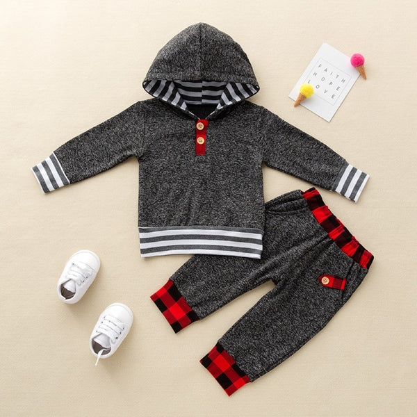 Boys Stripe Hooded Long Sleeve Top & Pant Baby Boys Clothes Wholesale