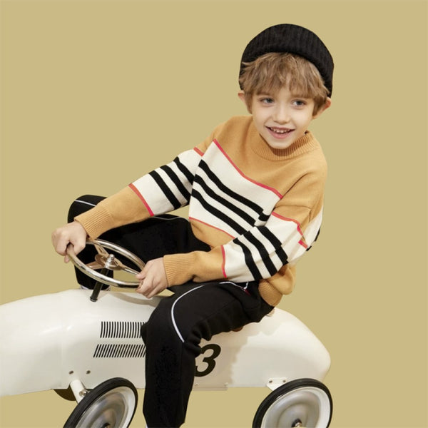 Boys Stripe Color Long Sleeves Knitting Sweater Little Boy Boutique Wholesale