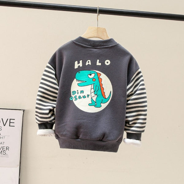 Boys Stripe Hello Dinosaur Cartoon Printed Top Baby Boy Dinosaur Clothes