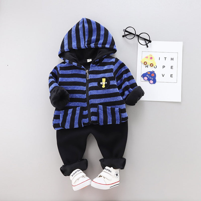 Boys Stripe Pattern Hooded Long Sleeves Top & Pants Boys Casual Suits