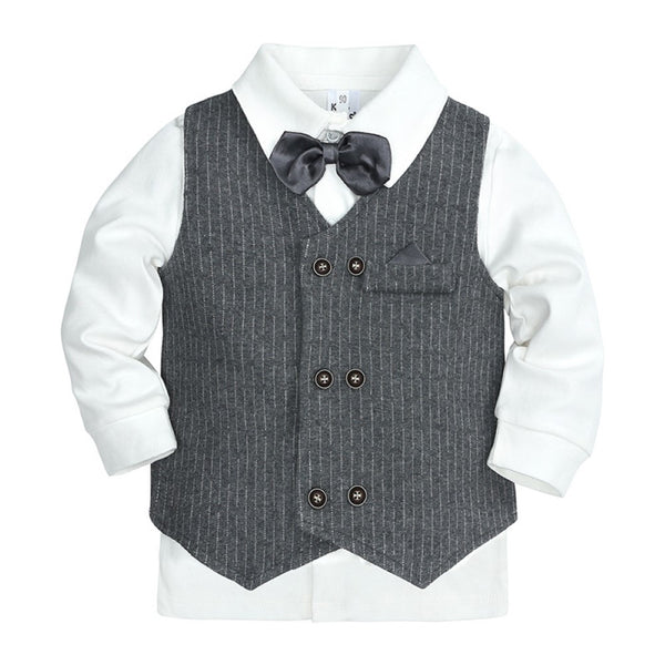 Boys Stripe V-neck Suits British School Boy