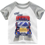 Boys Summer Boys Cartoon Car Printed Short Sleeve T-Shirt Wholesale Boy Boutique Clothing