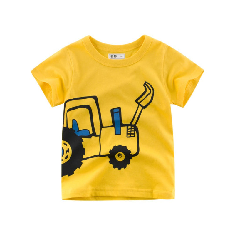 Boys Summer Boys Cartoon Car Printed Short Sleeve T-Shirt Wholesale Boy Clothes