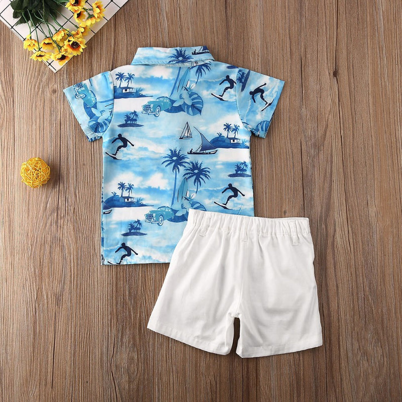 Boys Summer Boys' Blue Lapel Short Sleeve Shirt & Shorts Boy Summer Outfits