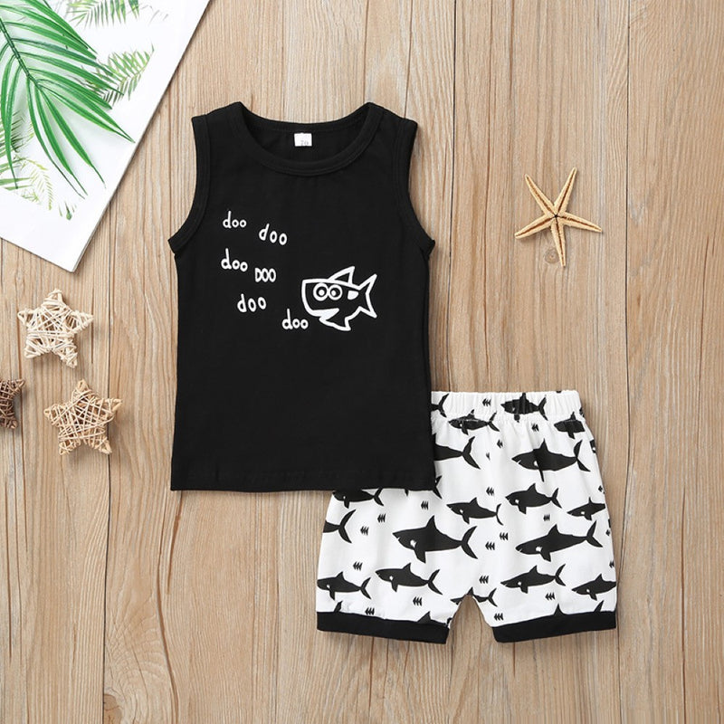 Boys Summer Boys' Cartoon Print Sleeveless Vest & Shorts Wholesale Clothing For Boys