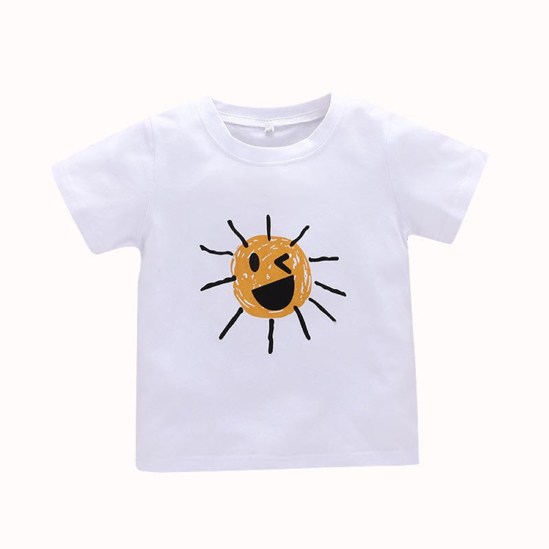 Boys Summer Boys' Cartoon Printed Round Neck Short Sleeve T-Shirt Wholesale Boys Clothing