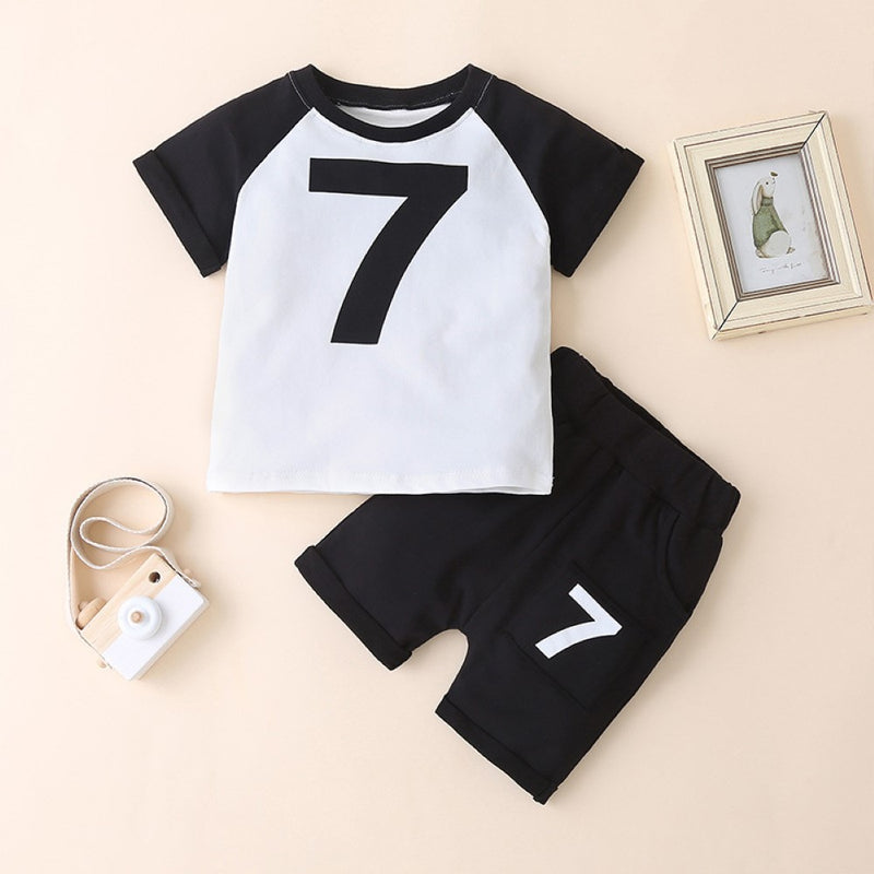 Boys Summer Boys' Digital Printed Round Neck Short Sleeve T-Shirt & Shorts Little Boy Boutique Wholesale