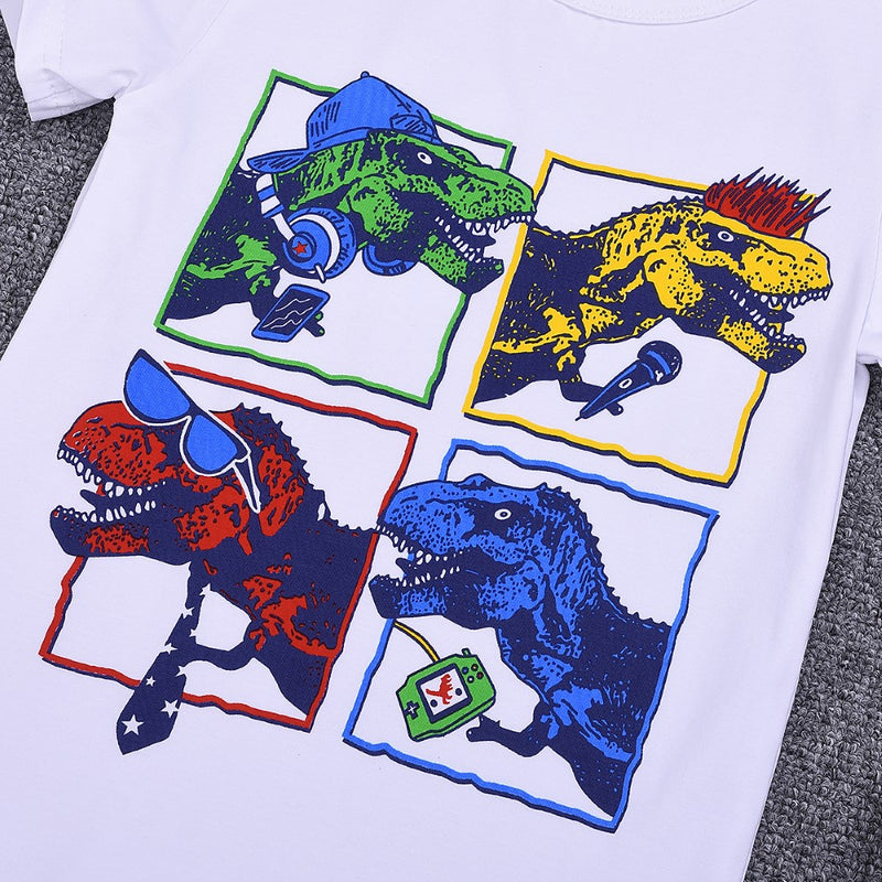 Boys Summer Boys' Dinosaur Print Short Sleeve T-Shirt Wholesale Kids Clothing Distributors