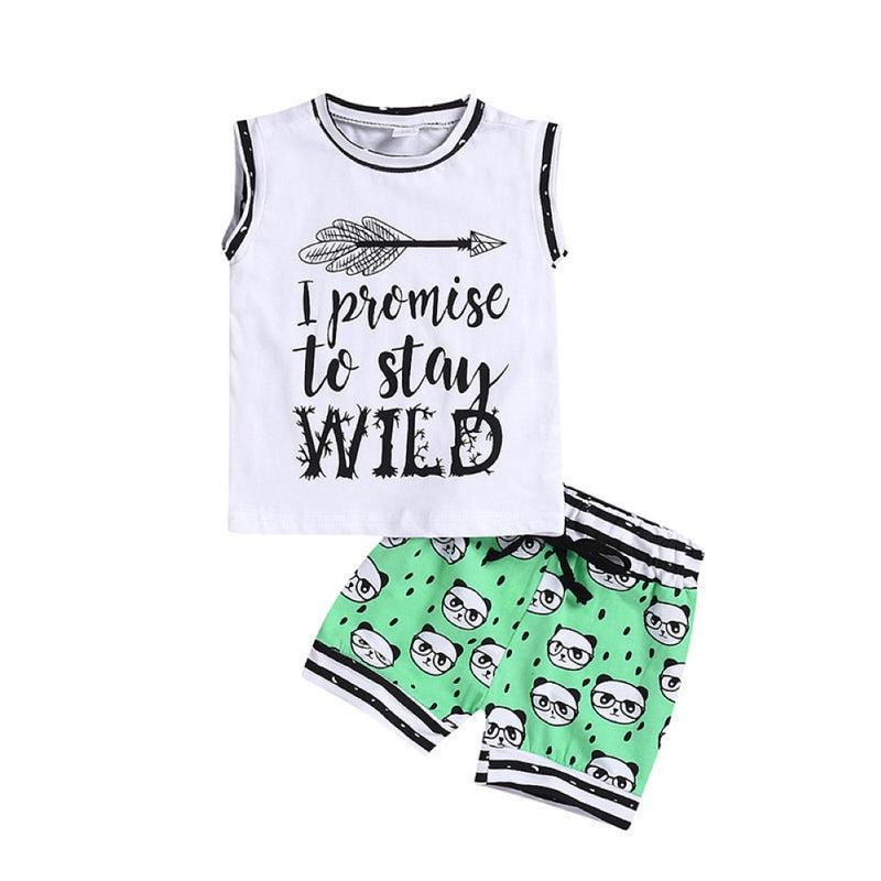 Boys Summer Boys' Letter Print Crew Neck Short Sleeve T-Shirt & Shorts Kids Clothing Suppliers