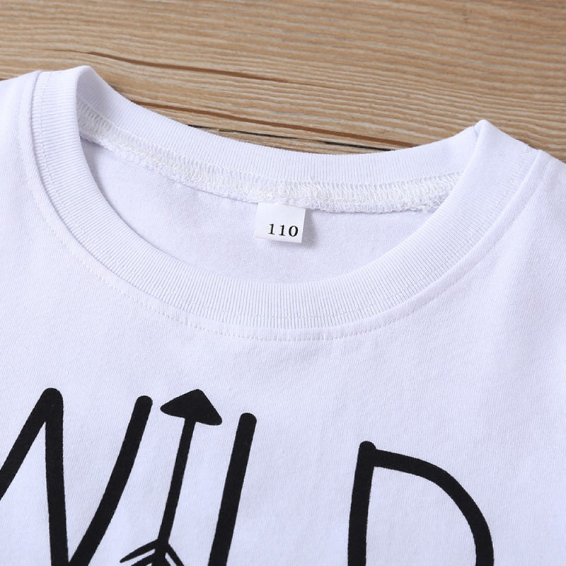Boys Summer Boys' Letter Print Solid Round Neck Short Sleeve T-Shirt Boys Clothes Wholesale