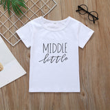 Boys Summer Boys' Letter Print Solid Round Neck Short Sleeve T-Shirt Wholesale Boys Boutique Clothing