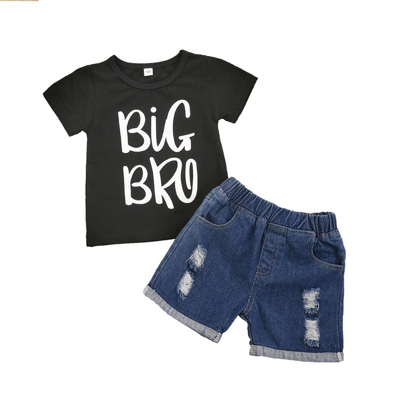 Boys Summer Boys' Letter Printed Round Neck Short Sleeve T-Shirt & Jeans Boys Summer Outfits
