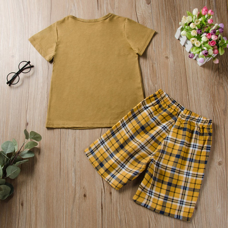 Boys Summer Boys' Letter Printed Round Neck Short Sleeve T-Shirt & Plaid Shorts Boy Summer Outfits