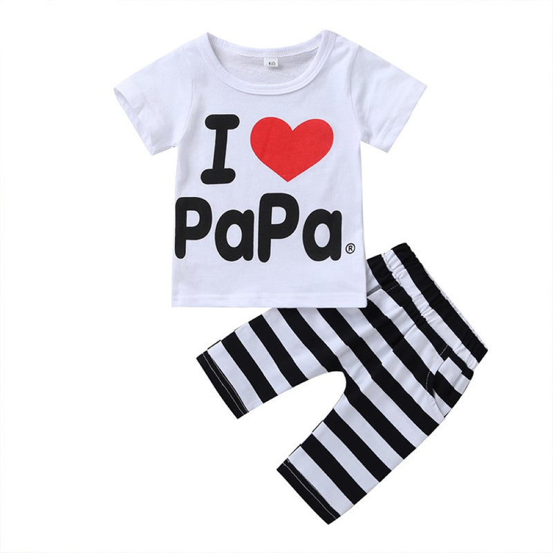 Boys Summer Boys' Letter Printed Round Neck Short Sleeve T-Shirt & Striped Pants Wholesale Boys Suits