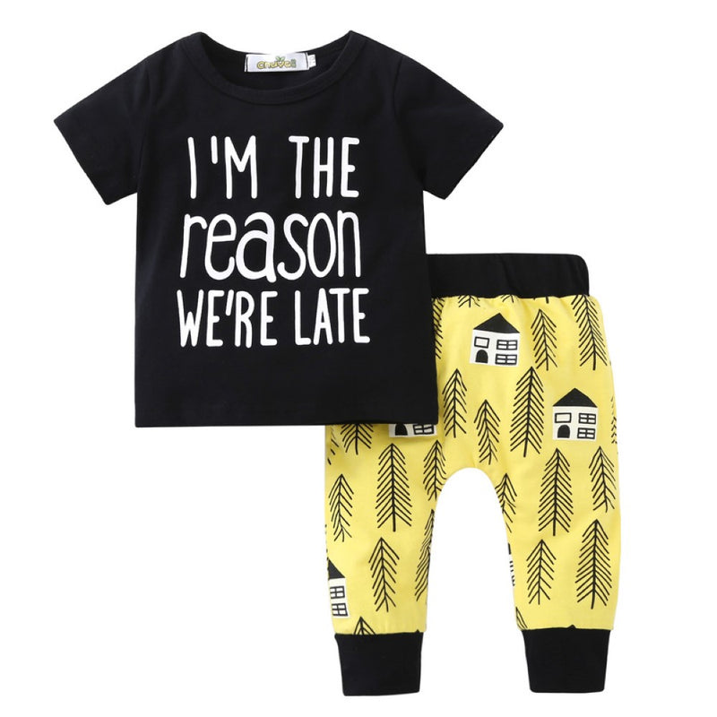 Boys Summer Boys' Letter Printed Round Neck Short Sleeve T-Shirt & Trousers Wholesale Boy Clothes