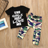 Boys Summer Boys' Letter Printed Short Sleeve T-Shirt & Camouflage Pants Wholesale Kidswear