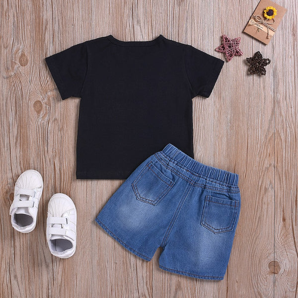 Boys Summer Boys' Letter Printed T-Shirt & Denim Shorts Toddler Boy Sets