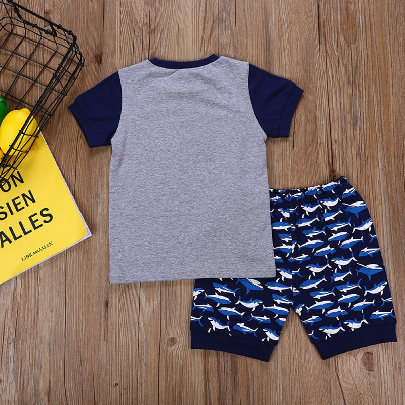 Boys Summer Boys' Shark Print Crew Neck Short Sleeve T-Shirt & Shorts Children Hats Wholesale