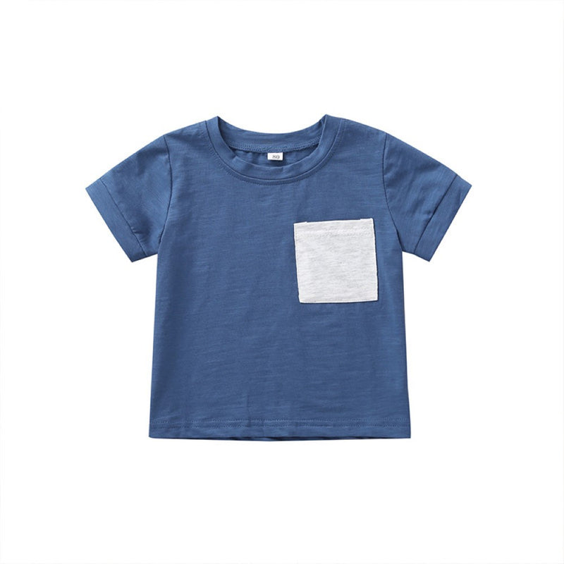 Boys Summer Boys' Solid Round Neck Short Sleeve T-Shirt Boys Summer Outfits