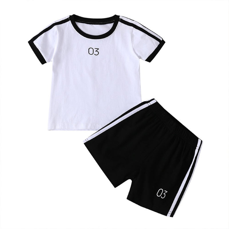 Boys Summer Boys' Solid Round Neck Short Sleeve T-Shirt & Shorts Wholesale Boy Clothing