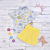 Boys Summer Boys' Yellow Bow & Cartoon Animal Print Short Sleeve & Shorts Wholesale Boy Clothes