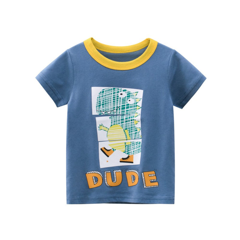 Boys Summer Boys' letter dinosaur round neck short sleeve T-shirt Boy Boutique Clothing Wholesale