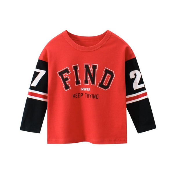 Boys Sunday Play Letter Printed Stripe Long Sleeves Shirt Wholesale Boy Clothes