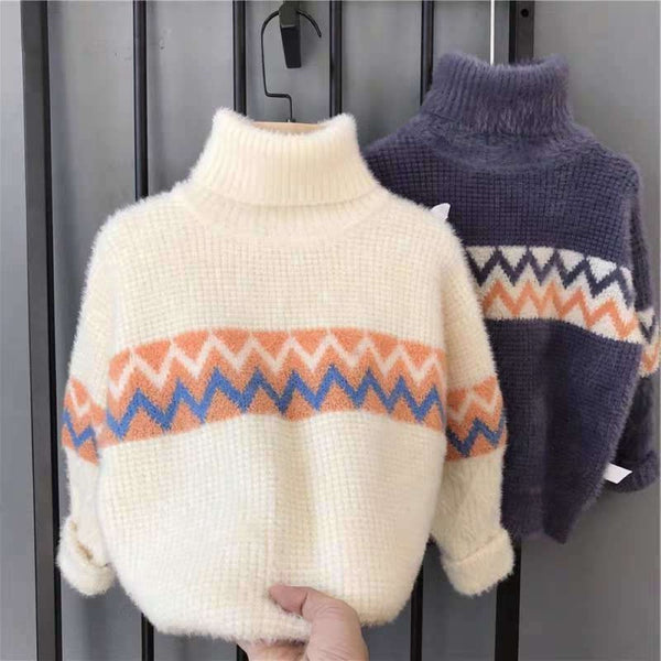 Boys Texture Pattern High Neck Sweater Boy Boutique Clothing Wholesale