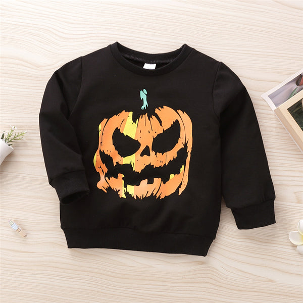 Boys Unisex Black Round Neck Printed Pumpkin Tops Boys Clothes Wholesale