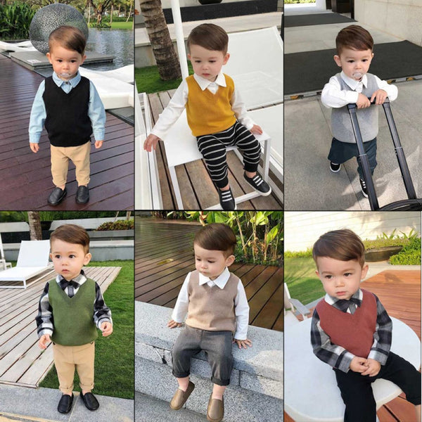 Boys V-Neck Soild Sleeveless Knitting Top Wholesale Boy Clothing