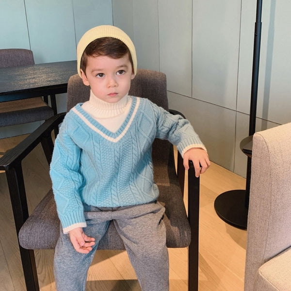 Boys V-Neck Splicing high Neck Sweater Little Boy Boutique Wholesale