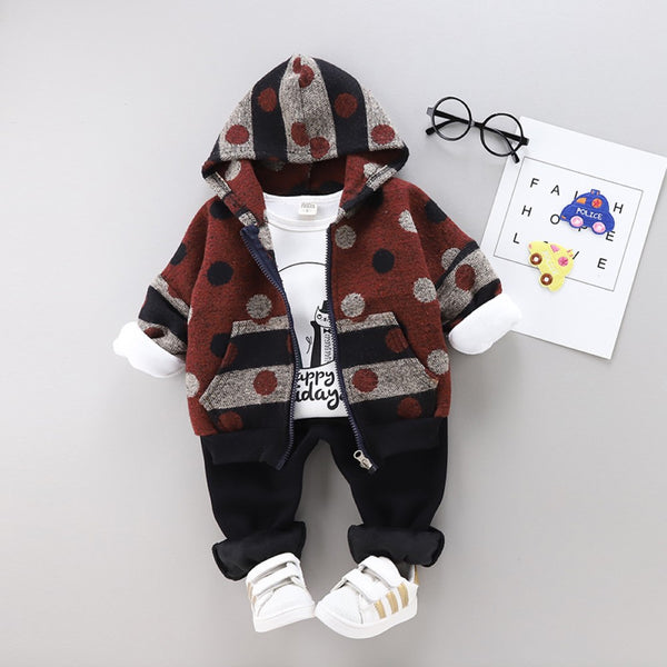 Boys Wave Point & Cartoon Animal Pattern Suits Wholesale Boys Boutique Clothing