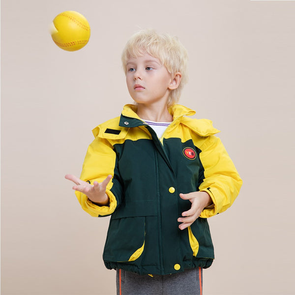 Boys Yes Letter Pattern Splicing Color Hooded Down Jacket Boys Clothes Wholesale