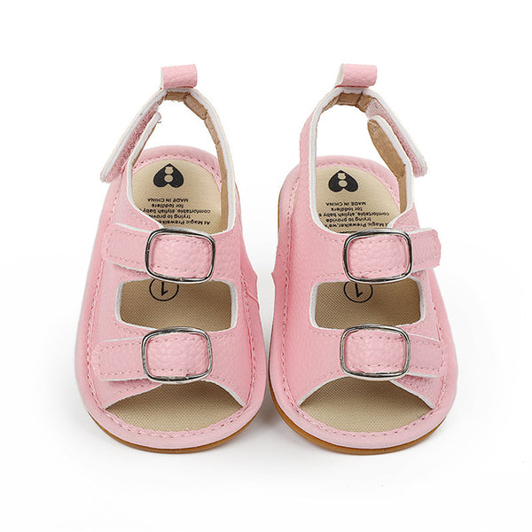 Baby Unisex Buckle Magic Tape Solid Sandals Wholesale Baby Shoes