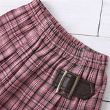 Girls Buckle Plaid Elastic Waist Skirt Wholesale Clothing For Girls