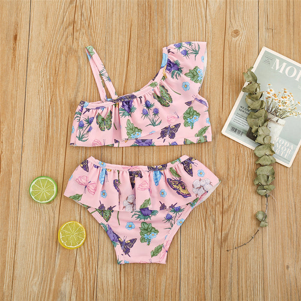 Girls Butterfly Floral Printed Oblique Top & Shorts Toddler 2 Piece Swimsuit